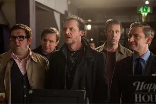 Pub trouble - Nick Frost, Eddie Marsan, Simon Pegg, Paddy Considine and Martin Freeman