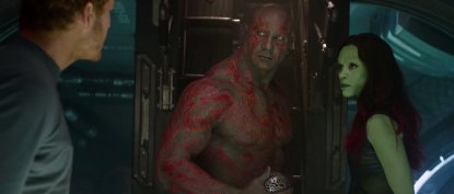 Skin-jobs: Dave Bautista and Zoe Saldana show off some impressive full-body makeup