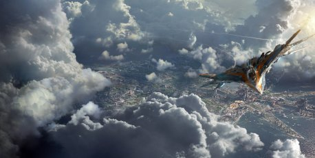 Spirit in the sky: Star-Lord's ship the Milano flies over the planet Xandar